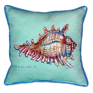 Betsy Drake Interiors Conch Teal/Multicolored Polyester 18-inch x 18-inch Throw Pillow