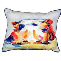 Betsy Drake Hippo Multicolored Polyester 16-inch x 20-inch Indoor/Outdoor Throw Pillow