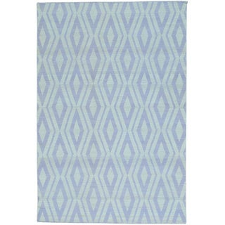 Ivory Flat Weave Reversible Kilim Pure Wool Hand Woven Rug (5'2 x 7'8)