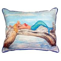 Betsy Drake Mermaid on Log Polyester 20-inch x 24-inch Indoor/Outdoor Throw Pillow