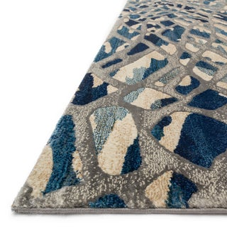 "Abstract Blue/ Grey Mid-century Rug - 6'7"" x 9'2"""
