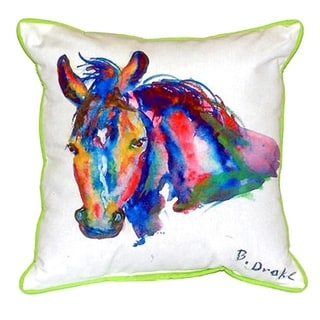 Betsy Drake Nellie Horse Multicolor Polyester 16-inch x 20-inch Indoor/Outdoor Throw Pillow
