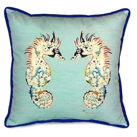 Betsy's Teal 18-inch x 18-inch Sea Horses Indoor/Outdoor Throw Pillow