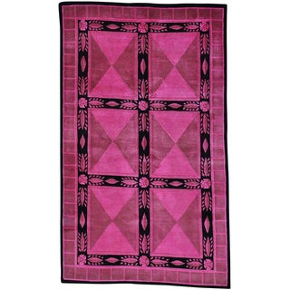 Pink Overdyed Pink Versace Design Nepali Hand Knotted Rug (5' x 8')