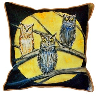 Night Owls Printed Polyester 22 inch x 22 inch Indoor/Outdoor Throw Pillow