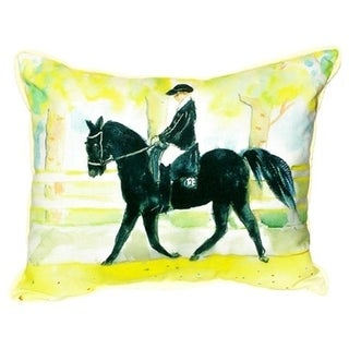 20-inch x 24-inch Black Horse and Rider Indoor/Outdoor Throw Pillow