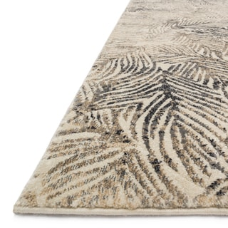 "Alexander Home Phaedra Leaf Abstract Charcoal/Beige Mid-Century Rug - 6'7"" x 9'2"""