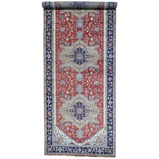 Red Pure Wool Hand Knotted Gallery Size Serapi Heriz Rug (9' x 24'8)