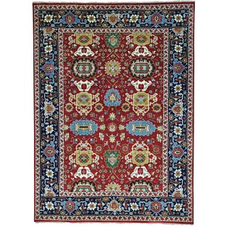 Red All Over Design Mahal Pure Wool Hand Knotted Rug (9' x 12'1)