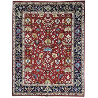 Red Pure Wool Hand Knotted All Over Design Mahal Rug (9' x 12')
