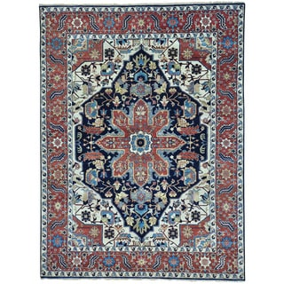 Blue Pure Wool Hand Knotted Navy Blue Serapi Heriz Rug (9' x 11'10)