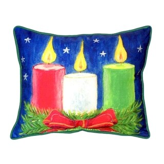 Betsy Drake Christmas Candles Multicolored Polyester 20-inch x 24-inch Indoor/Outdoor Throw Pillow