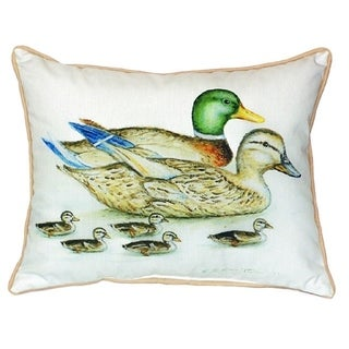 Betsy Drake Mallard Family Multicolor Polyester 18-inch x 18-inch Indoor/Outdoor Throw Pillow