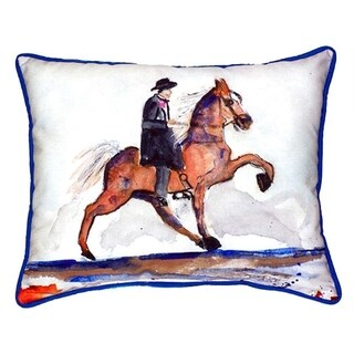 Betsy Drake Interiors Brown Walking Horse Multicolored Polyester Throw Pillow (16 x 20)
