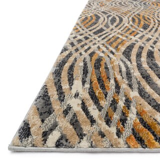 Phaedra Abstract Charcoal/ Gold Rug (6'7 x 9'2)