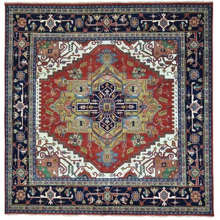 Red Pure Wool Hand Knotted Serapi Heriz Square Rug (9'10 x 10')