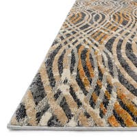 Phaedra Abstract Charcoal/ Gold Rug - 1'11 x 3'3
