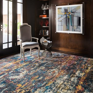 """Transitional Abstract Navy/ Multi Area Rug - 7'10"""" x 11'"""