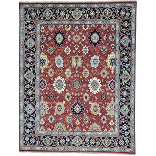 Red Pure Wool Hand Knotted All Over Design Mahal Rug (7'8 x 9'10)