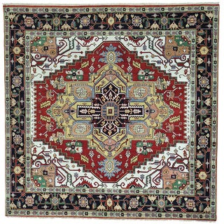 Red Hand Knotted Pure Wool Serapi Heriz Square Rug (9'1 x 9'1)