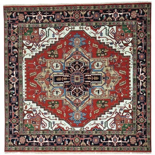Red Hand Knotted Square Pure Wool Serapi Heriz Rug (8'10 x 8'10)