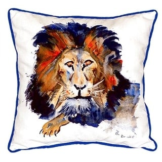 Betsy Drake Lion Multi-color Polyester 22-inch x 22-inch Indoor/Outdoor Throw Pillow