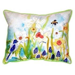 Bird & Daffodils Indoor/Outdoor 16-inch x 20-inch Throw Pillow