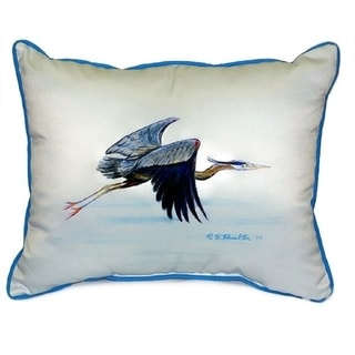 Eddie's Blue Heron Multi-color Polyester Indoor, Outdoor Throw Pillow