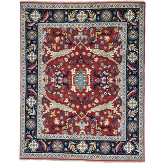 Red Heriz All Over Design Pure Wool Hand Knotted Rug (8' x 10'1)