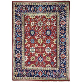 Red Hand Knotted 100 Percent Wool All Over Design Mahal Rug (8'9 x 12'1)