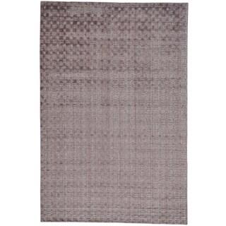 Purple Hand Loomed Tone on Tone Wool and Bamboo Silk Rug (6' x 9')
