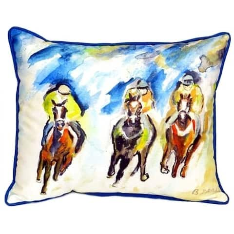 Betsy Drake Three Racing Horses Multicolored Polyester 16-inch x 16-inch Indoor/Outdoor Throw Pillow