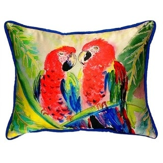 Betsy Drake Two Parrots Multi-colored Polyester 16-inch x 20-inch Throw Pillow