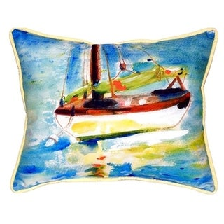 Betsy Drake Yellow Sailboat Multicolor Polyester Indoor/Outdoor Rectangular Throw Pillow