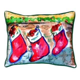 Betsy Drake Christmas Stockings Indoor/Outdoor Throw Pillow
