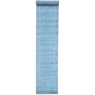 Grey Tone on Tone Runner Wool and Silk Broken Design Rug (2'7 x 14')
