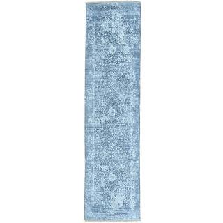 Grey Broken Design Tone on Tone Runner Wool and Silk Rug (2'5 x 9'7)