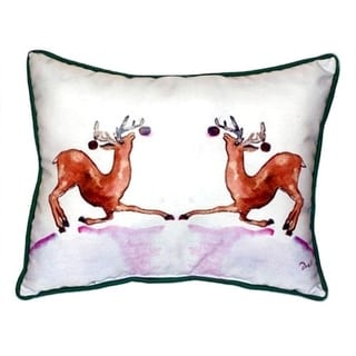 Betsy Drake Dancing Deer Multicolor Polyester 20-inch x 24-inch Indoor/Outdoor Throw Pillow