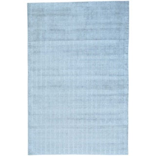 Grey Wool and Bamboo Silk Tone on Tone Hand Loomed Rug (6' x 9'1)
