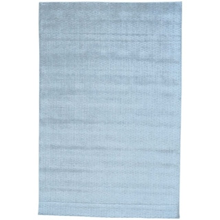 Grey Tone on Tone Wool and Bamboo Silk Hand Loomed Rug (6' x 9'2)