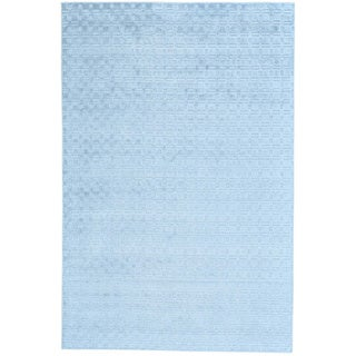 Sky Blue Tone on Tone Hand Loomed Wool and Bamboo Silk Rug (6' x 9'1)