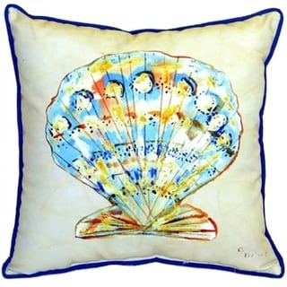 Betsy Drake Teal Scallop Multicolor Polyester 18-inch x 18-inch Indoor/Outdoor Throw Pillow