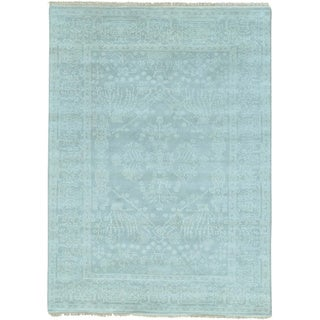 Grey 100 Percent Wool Tone on Tone Heriz Hand Knotted Rug (5'1 x 7')