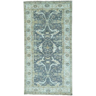 Grey Wide Runner Grey Oushak Pure Wool Hand Knotted Rug (6'2 x 11'10)