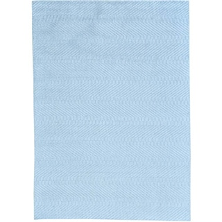 Blue Wool and Viscose from Bamboo Silk Hand Loomed Tone on Tone Oriental Rug (5' x 7')