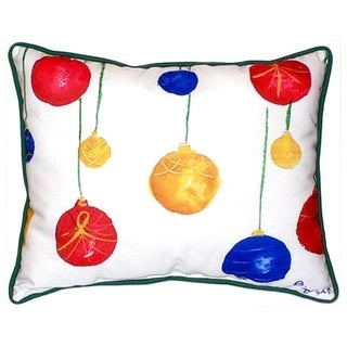 Betsy Drake Christmas Ornaments 20-inch x 24-inch Indoor/Outdoor Throw Pillow