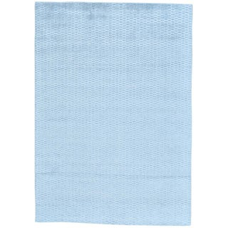 Blue Tone on Tone Wool and Bamboo Silk Hand Loomed Oriental Rug (5' x 7')