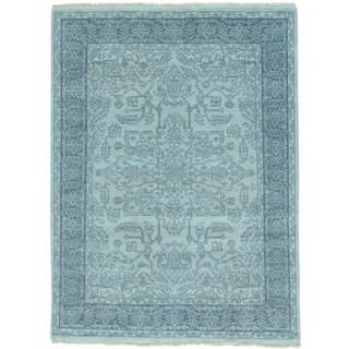 Grey Heriz Tone on Tone Hand Knotted Pure Wool Oriental Rug (5' x 6'8)