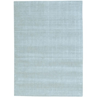 Grey Wool and Viscose from Bamboo Silk Tone on Tone Hand Loomed Oriental Rug (5' x 7')