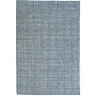 Grey Wool and Viscose from Bamboo Silk Tone on Tone Hand Loomed Oriental Rug (6' x 9')